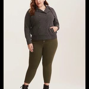 Torrid double breasted hooded bomber jacket